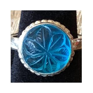STERLING SILVER 925 RING BLUE GLASS ETCHED STONE